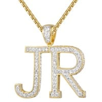 Custom Iced Out 14k Gold Finish Block Letters A-Z Pendant
