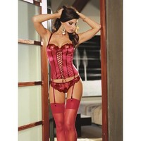 Sexy Deep Red Strap Satin Stabilized Yarn Corset and Panty Set - Bustiers  Corsets - Sexy Lingerie