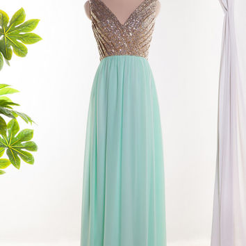Mint green bridesmaid dress v neck from cocomadedress on etsy for Mint and gold wedding dress