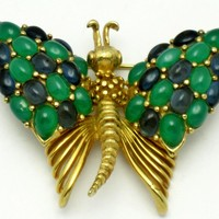 BOUCHER Vintage Faux Emerald Sapphire Cabochon Figural Butterfly Brooch