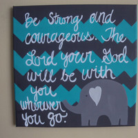 Hand painted canvas with Elephant and Bible Verse 12x12 Baby or Child room Decoration