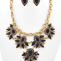 Take A Vintage Stance Necklace- Black and Navy