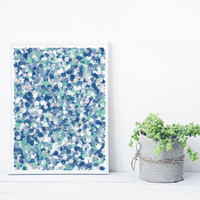 Abstract Art based on Math, inspired by Jackson Pollock. Mystic Rose splatter_blueGreen, Limited Edition 8x10 Giclee print