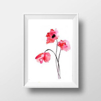 Poppy flower watercolor painting red floral wall art botanical  print wildflowe poster livingroom decal colorful decoration girl nursery