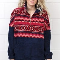 Contrast Print Sherpa Pullover {Navy}