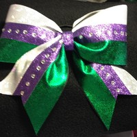 White and Green with Purple [Layered] - $15.00 : GLITZ Cheer BowZ, Custom Products From Your Head To Your Toes