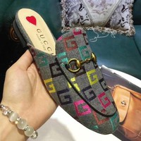 GUCCI Trending Women Casual Letter Bee Embroidery Half Slipper Mules Shoes I