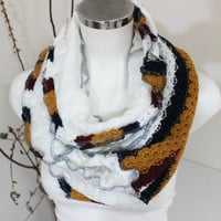 Color and white scarf, White mustard burgundy infinty, Color Infinity Scarf, Handmade scarves, Unique Christmas Gifts, unisex scarf Winter