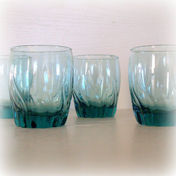 VINTAGE TEAL BLUE Swirl Drinking Glasses - Lowball Rock Glass Set of 4 - Modern Vintage Bar Cart Accessories