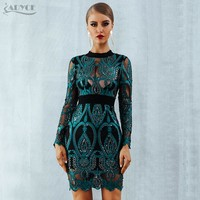 ADYCE Luxury Celebrity Party Sequin Dress Women 2019 New Long Sleeve Backless Sexy Mesh Hollow Out Mini Green Club Dress Vestido