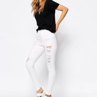 WAVEN High Waist Skinny Jeans With Distressing
