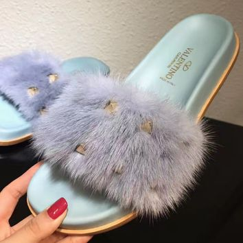 shosouvenir Valentino hairy slippers riveted flat shoes