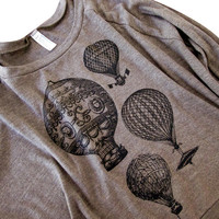 Hot Air Balloon Sweater - Vintage Steampunk Balloons on a Raglan American Apparel Soft Sweater - (Available in sizes S, M, L)