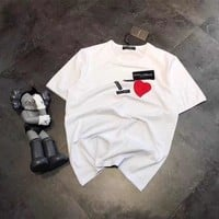 """""""Dolce & Gabbana"""" Unisex Casual Fashion Love Heart Letter Patch Short Sleeve Couple T-shirt Top Tee"""