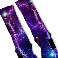 Purple Lightning Galaxy Custom Nike Elite Socks