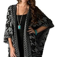 Jealous Tomato Women's Grey and Black Houndstooth Sweater Knit Poncho Coverup