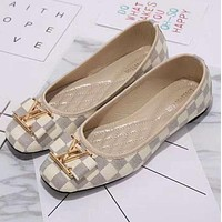 Louis Vuitton LV plaid flat shoes Big logo canvas women sandals shoes F-YJBD-2H