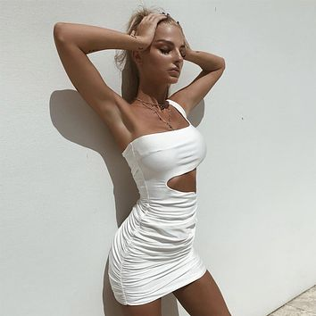 Club Summer One Shoulder Women's Fashion Sexy 10-color One Piece Dress [1914361479222]