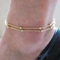 New Brand Design Double Chain Anklet Bracelet Ankle Chain Hand Chain Foot Jewelry Barefoot Beach Women Costume Jewelry