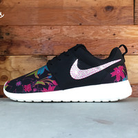 Nike Roshe One Customized by Glitter Kicks - Black/White/Pink/Floral