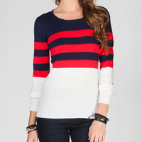 Say What? Striped Womens Sweater Navy  In Sizes
