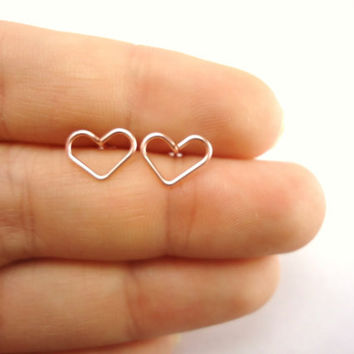 Pink Hearts Stud Earrings, Valentine Gift, Rose Gold