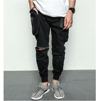 Casual Training With Pocket Zippers Jogging Pants [411396276253]