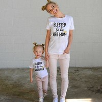 Blessed to be Her Mom Daughter Matching T-shirt Outfits