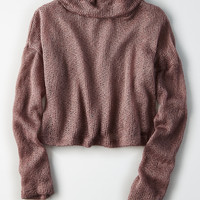 Don't Ask Why Textured Turtleneck, Washed Plum