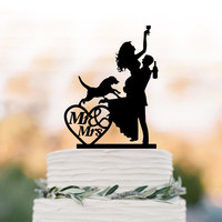 Drunk Bride Wedding Cake topper with dog, bride and groom silhouette, mr and mrs in heart, funny people figurine cake decor