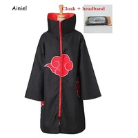 Naruto Sasauke ninja Ainiel  Cosplay Costume   Akatsuki Uchiha Itachi Cloak Halloween Carnival Jumsuit With Headband For Women and Men AT_81_8