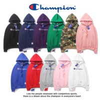 Champion with velvet hooded hooded hooded jacket for both men and women English embroidery day department popular logo loose