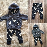 Kids Baby Winter Christmas Clothes Set Newborn Baby Boys Girls Warm Outfits Deer T-shirt Hoodie Top+Pant Leggings 2pcs