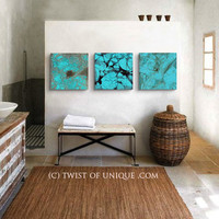 Turquoise Abstract art, CUSTOM 3 square Abstract Wall Art, Large abstract painting, -Blue turquoise, turquoise, desert turquoise, Stone,