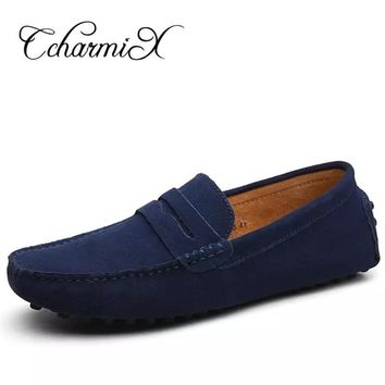 Men Casual Suede Loafers 2017 Black Solid Leather Driving Moccasins Gommino Slip on Men Formal Loafers Shoes Male Dress Loafers