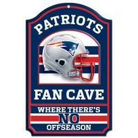 NFL New England Patriots 11-by-17 inch Fan Cave No Offseason Wood Sign