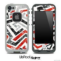Abstract Red Black & Gray Pattern Skin for the iPhone 5 or 4/4s LifeProof Case