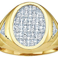 Round Diamond Men's Cluster Ring in 14k Gold 0.25 ctw