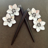 Pair of Black and Silver Hair Sticks - Double Flowers