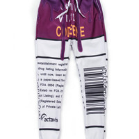 Purple and White 3D Letters Emoji Print Sweatpants