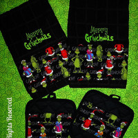 Grinch Towels and Pot Holder Set - CUSTOM EMBROIDERED with Fabric Trim - Bold and Beautiful
