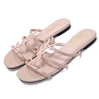 Ysl New Classic Patent Leather Word With Metal Buckle Open Toe Fashion Flat Female Slippers Shoes Apricot