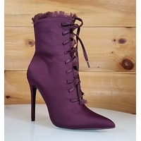 So Me Lilly Purple Wine Point Toe Frayed Edge High Heel Ankle Boot Shoe