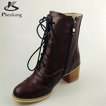Genuine leather fashion normic british style vintage boots handmade carved martin boots female boots with lacing side zipper fur