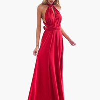 Red Twisted Strap Waist Tie Maxi Dress