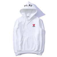 CDG PLAY Fashion New Bust Side Embroidery Letter Love Heart Eye Long Sleeve Hooded Sweater Top White