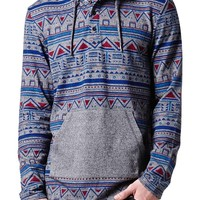 On The Byas Ethnic Pop Print Hooded Shirt - Mens Shirt - Gray