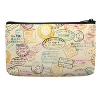 Make Up Bags in vintage stamp pattern in beige color for makeup box pencil pouch