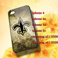 New Orleans Saints Football Hard plastic and Rubber case iphone 4/4s,5/5s,5c,Samsung S3 i9300,S4 i9500
