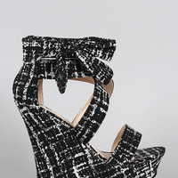 Bamboo Abstract Print Side Bow Crisscross Open Toe Platform Wedge